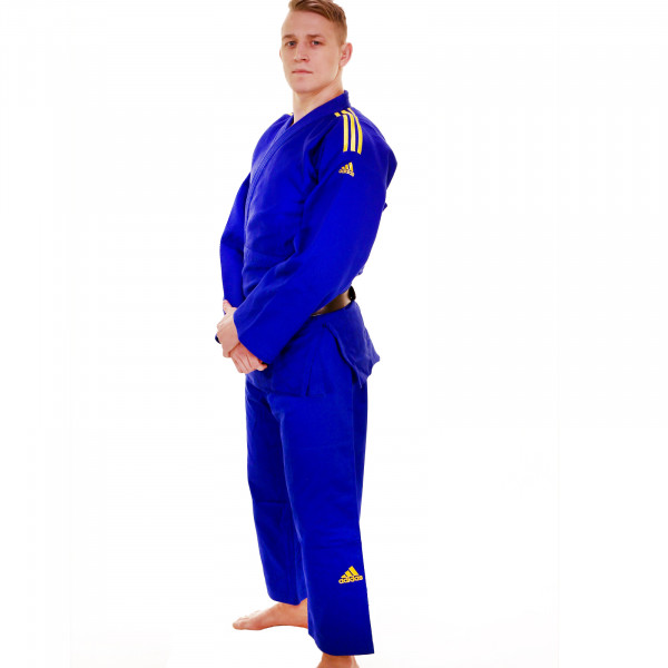 Adidas judo gi - Champion 2.0 - IJF Red Label - Blå / Gul - Slim Fit