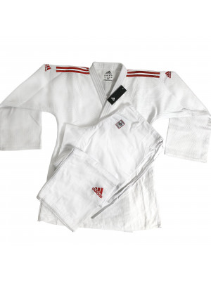 Judo Uniform - Adidas Judo - 'Champion 2.0' - Vit/Röd - Slim Fit