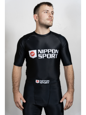 Rash Guard - Nippon Sport - 'Short sleeves' - Svart